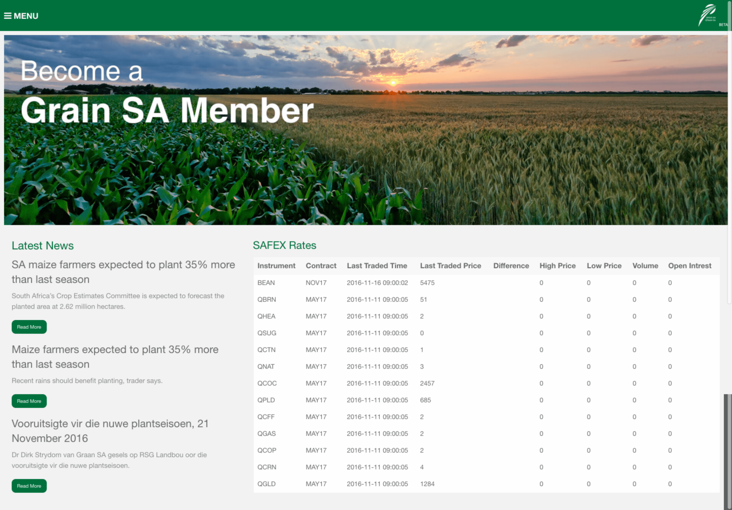 Grain-sa website by Billow