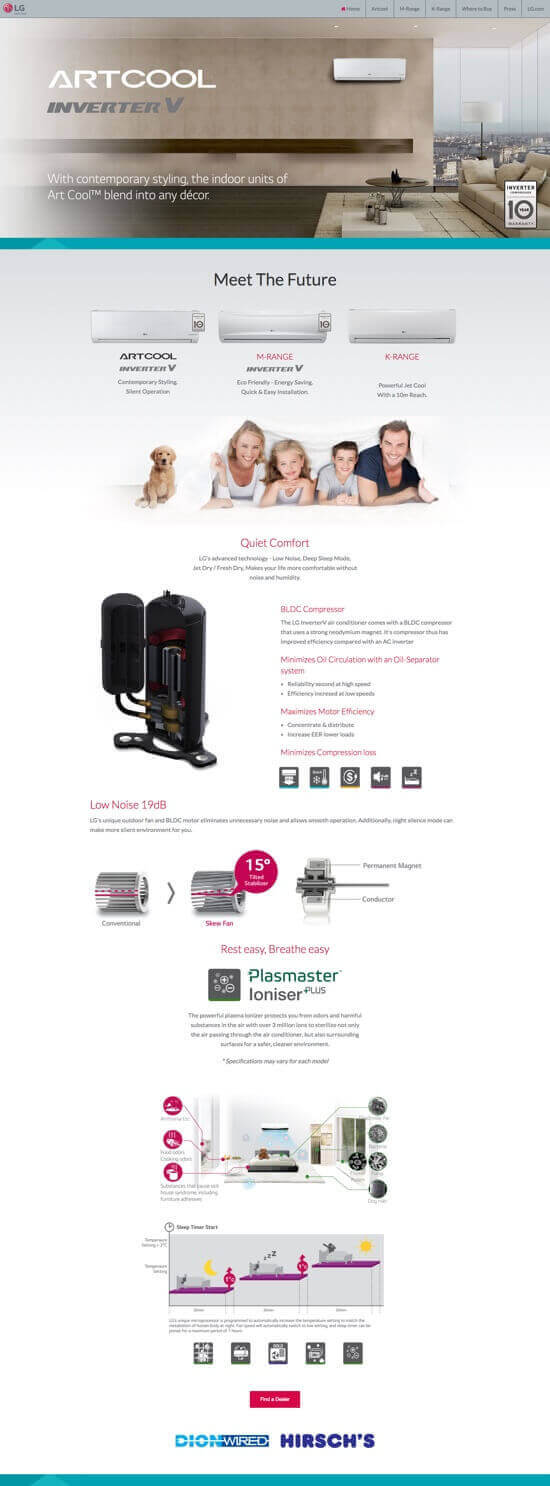 LG Air Conditioning Micro-site by Billow