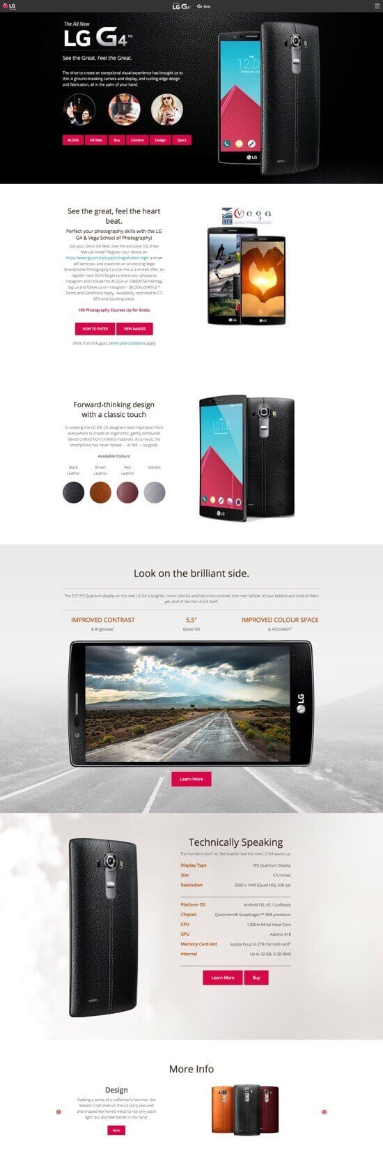 LG G4 Micro-site by Billow