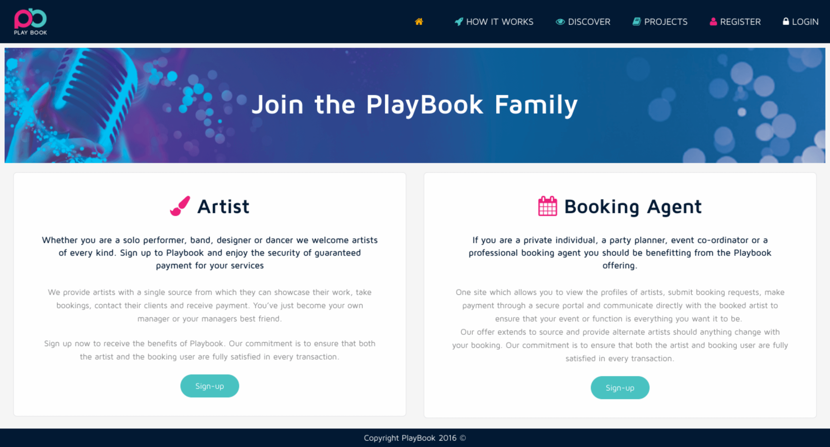 Playbook website by Billow